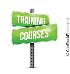 oplæring, kurser, vej underskriv, illustration, konstruktion