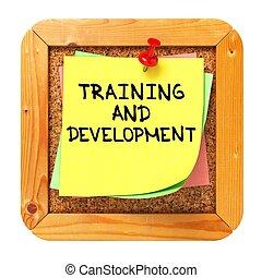 oplæring, og, development., mærkaten, på, bulletin.