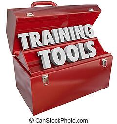 oplæring, redskaberne, rød, toolbox, lærdom, nye, held,...