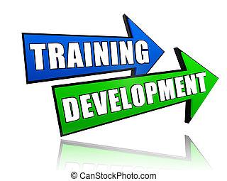 oplæring, udvikling, ind, pile