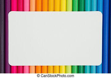 opleiding, achtergrond, kleurpotlood, kleurrijke, kaart, potlood