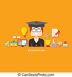 opleiding, afstuderen, pictogram