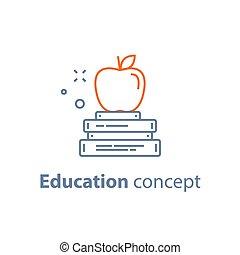 opleiding, appel, lineair, concept, voorbereiding, bovenzijde, boekjes , pictogram, stapel, examen