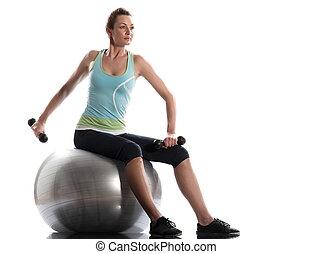 opleiding, bal, gewicht, het uitoefenen, geplaatste vrouw, zwitsers