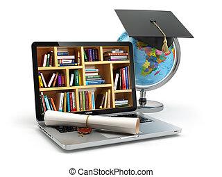opleiding, concept., draagbare computer, met, boekjes , globe, bevordering pet, en, diploma.