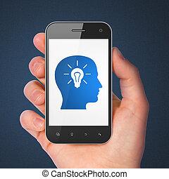 opleiding, concept:, hoofd, met, gloeilamp, op, smartphone