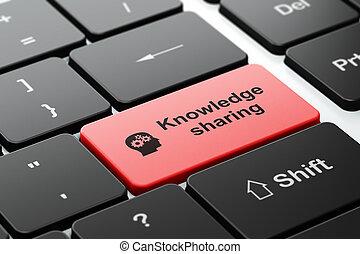opleiding, concept:, hoofd, met, toestellen, en, kennis, delen, op, computer toetsenbord, achtergrond