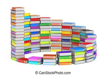 opleiding, concept, ladder, van, books., 3d, vertolking