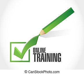 opleiding, concept, meldingsbord, online, mark, controleren