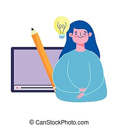 opleiding, cursus, spotprent, student, digitale , creativiteit, website, online