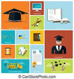 opleiding, en, afgestudeerd, plat, pictogram, set