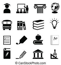 opleiding, en, school, iconen