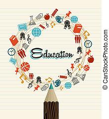 opleiding, globaal, iconen, rug te onderrichten, pencil.