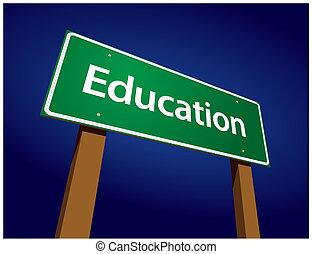 opleiding, groene, straat, illustratie, meldingsbord