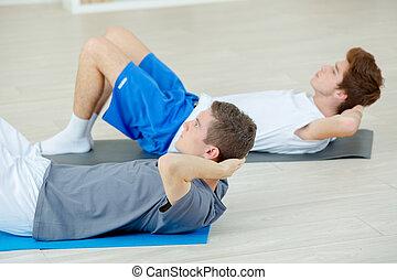 opleiding, gym, twee jongens, workout, situp