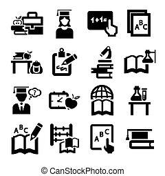 opleiding, iconen, set