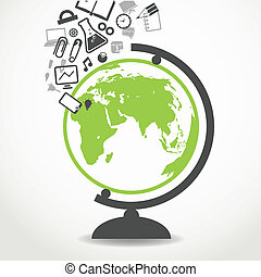 opleiding, iconen, vloeiend, in, school, globe