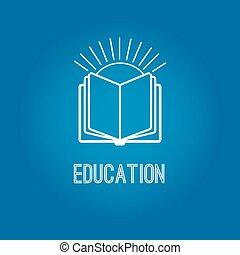 opleiding, logo, met, opengeslagen boek