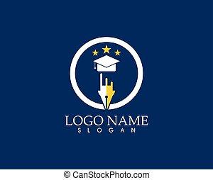 opleiding, mal, ontwerp, vector, logo