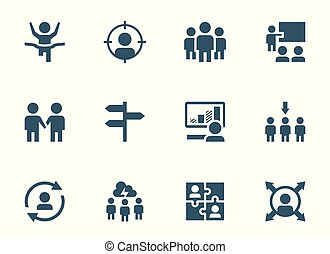 opleiding, management, set, vector, bewindvoering, collectief, pictogram