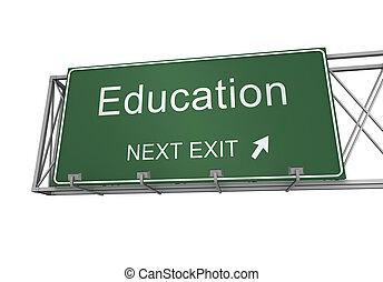 opleiding, meldingsbord, straat, illustratie, 3d