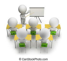 opleiding, mensen, -, koersen, kleine, 3d