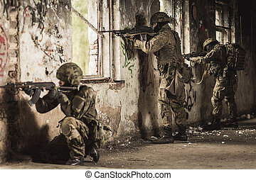opleiding, oefening, met, wapen