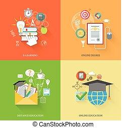 opleiding, online, iconen