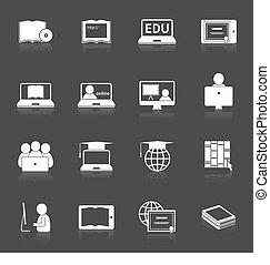 opleiding, online, pictogram