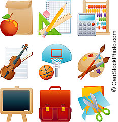 opleiding, pictogram, set