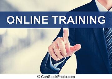 opleiding, scherm, feitelijk, hand, aandoenlijk, tabblad, online, zakenman