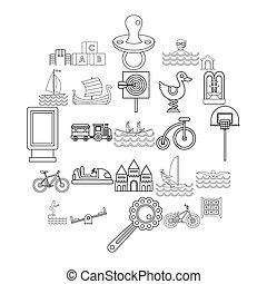 opleiding, schets, iconen, set, stijl, lichamelijk