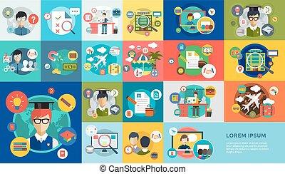 opleiding, school., kantoorwerk, icons., vector, online, ...