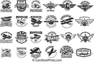 opleiding, set, centrum, communie, ontwerp, emblems., vliegtuig, logboek
