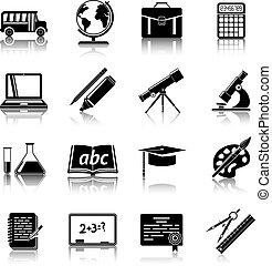 opleiding, set, iconen
