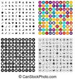 opleiding, set, iconen, variant, honderd, lichamelijk