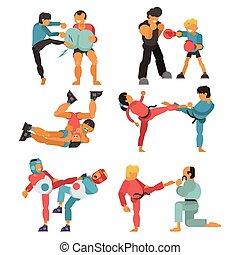 opleiding, set, kunst, gevecht, macht, mensen, praktijk, karakter, vrijstaand, illustratie, karate, krijgshaftig, vector, sterke, achtergrond, vechter, witte , sportende, vecht, oefening, man