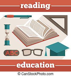 opleiding, set, lezende , iconen