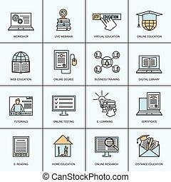 opleiding, set, online, iconen