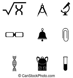 opleiding, set, pictogram