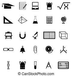 opleiding, set, pictogram