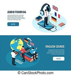 opleiding, set, taal, banieren