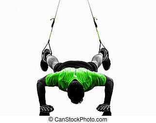 opleiding, silhouette, het uitoefenen, trx, ophanging, man