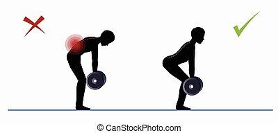 opleiding, sportende, lichamelijk, deadlift, exercise.
