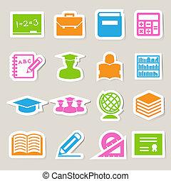 opleiding, sticker, iconen, set.
