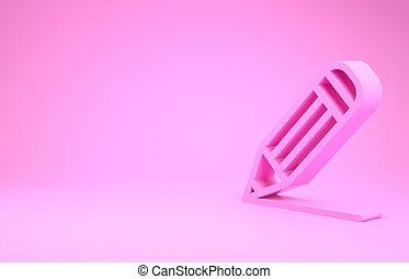 opleiding, teken., vrijstaand, illustratie, lijn, kantoor, concept., minimalism, achtergrond., tools., symbool., 3d, tekening, roze, school, pictogram, render, onderwijs, potlood