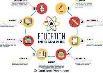 opleiding, vector, infographic, tabel, met, opties