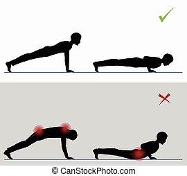 opleiding, volle, exercise., duw, sportende, ups, lichamelijk
