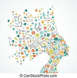 opleiding, voor, vrouw, hoofd, concept, illustratie