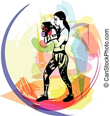 opleiding, vrouw, gym, boxing handschoenen, slijtage